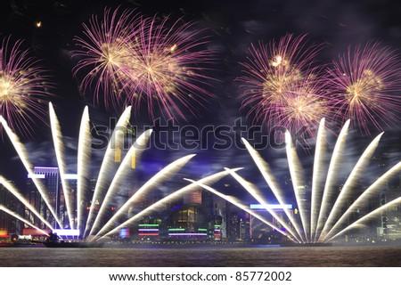 Firework show in HongKong 2011 - stock photo