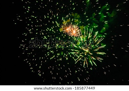 Firework.Three explosions. Abstract background. - stock photo