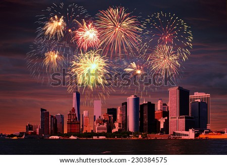 Fireworks above the Manhattan, New York City. - stock photo