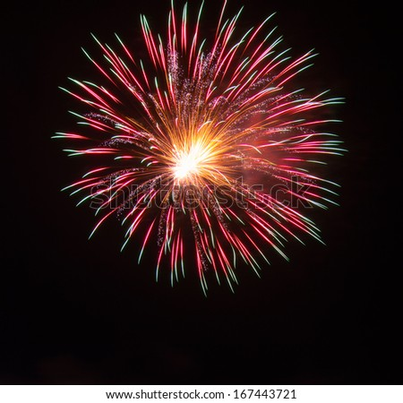 Fireworks Against a Black Sky. - stock photo