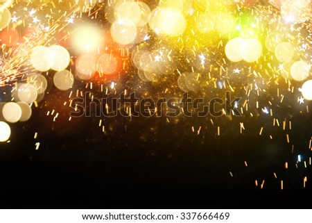 Fireworks and bokeh background - stock photo