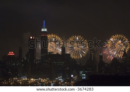 Fireworks and Empire State Building - stock photo