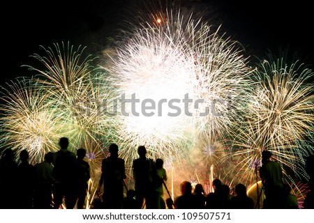 fireworks and spectator - stock photo