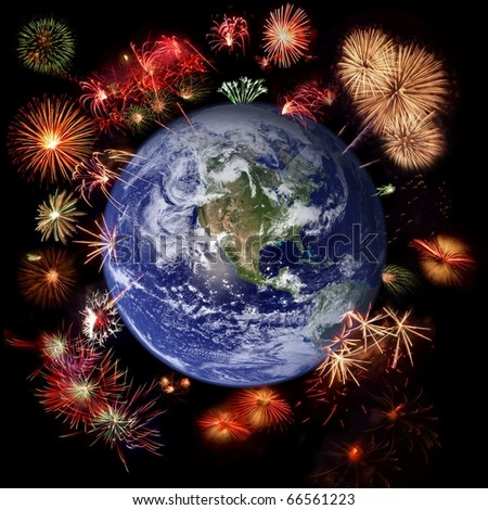 Fireworks around Earth - West hemisphere, celebration concept (Earth image courtesy of Nasa http://visibleearth.nasa.gov/) - stock photo
