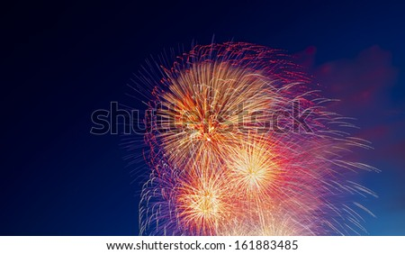 Fireworks at a local Fourth of July Celebration - stock photo
