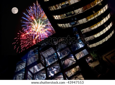Fireworks at an Office Building - stock photo