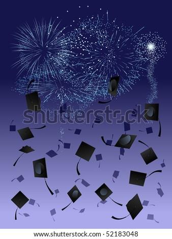 Fireworks at graduation - raster - stock photo
