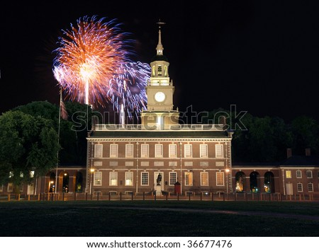 Fireworks at Independence Hall National Historic Park in Philadelphia. - stock photo