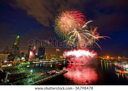 Fireworks at Kaohsiung Harbor - stock photo