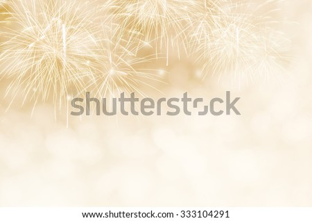 Fireworks at New Year and copy space. - stock photo