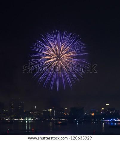 Fireworks at Pattaya beach, Thailand - stock photo
