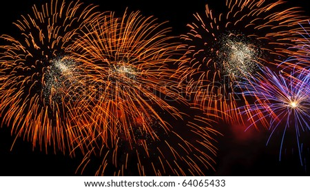 Fireworks at Pattaya beach, Thailand - stock photo