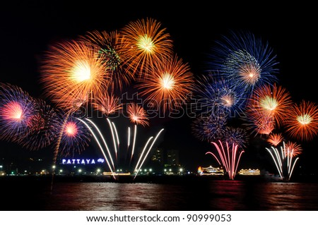 Fireworks at Pattaya City, Chonburi,Thailand