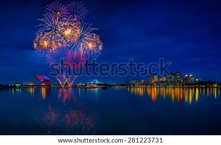 fireworks 2015 at the national stadium in Singapore - stock photo