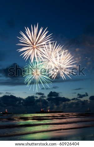 Fireworks at the sea at the International fireworks festival of the Hague 2010 - stock photo