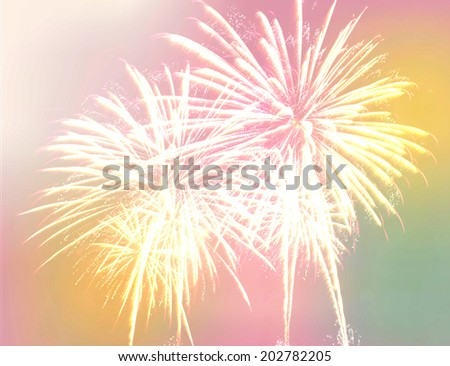 fireworks background. beautiful fireworks made with color filters - stock photo