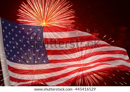 Fireworks background for USA Independence Day. Fourth of July celebrate. Independence Day fireworks and flag. USA flag and fireworks. 4th of July background with flag and fireworks. - stock photo