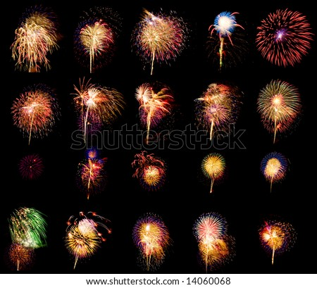 Fireworks big collection volume 1. Twenty five compositions isolated on black. - stock photo