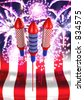 Fireworks & Bottlerockets 3D - stock photo