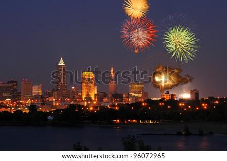 Fireworks burst over downtown Cleveland, Ohio - stock photo