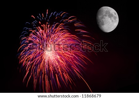 Fireworks by the moon - stock photo