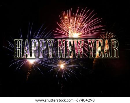 Fireworks celebrating new year. - stock photo