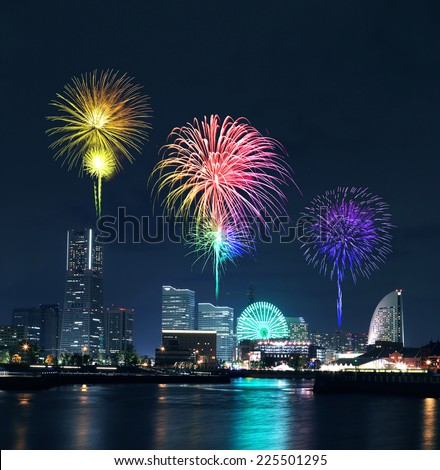 Fireworks celebrating over  marina bay in Yokohama City, Japan - stock photo