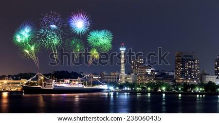 Fireworks celebrating over  marina bay in Yokohama City, Japan - stock photo