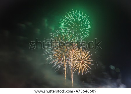 Fireworks Celebration at night on  Background