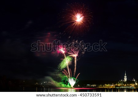 Fireworks celebration in the city's birthday