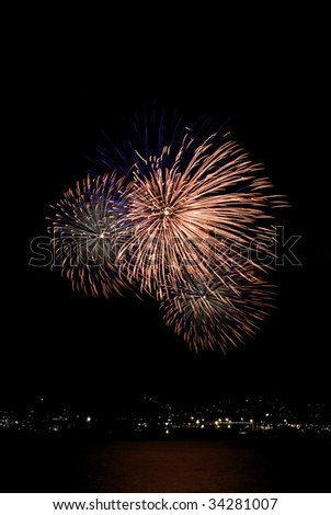 Fireworks celebrations in Wellington City - stock photo