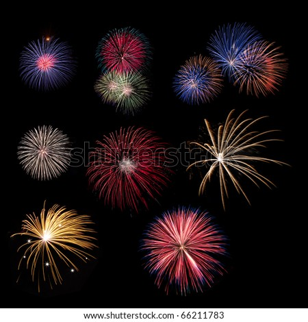 Fireworks collection - stock photo