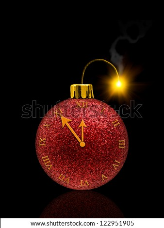 Fireworks concept from christmas bauble with clock and fuse - stock photo