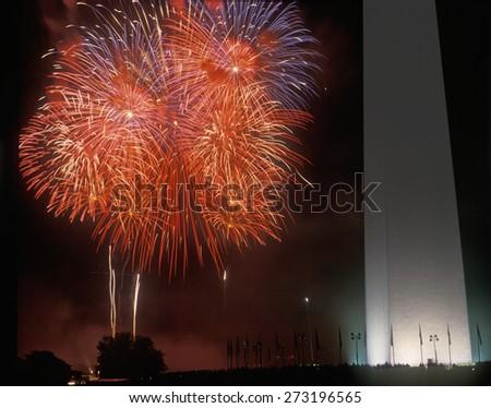 Fireworks display at the National Monument, Washington DC - stock photo