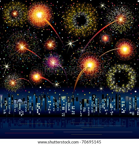 Fireworks Display at the Night City - stock photo