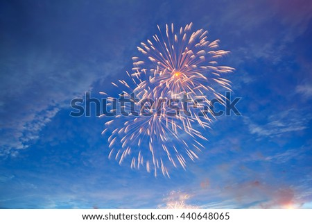 Fireworks display on 4th of July. Fireworks display on dark sky background. Independence Day, 4th of July, Fourth of July or New Year. - stock photo