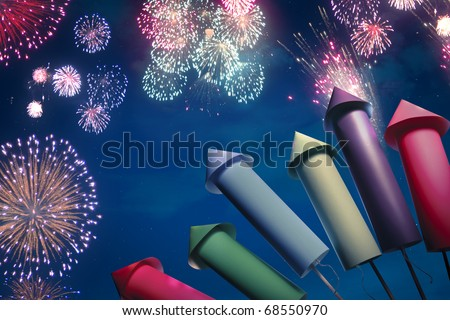 fireworks display setup at night - stock photo