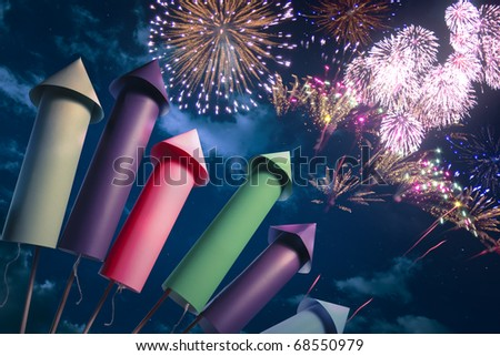 fireworks display setup at night - stock photo