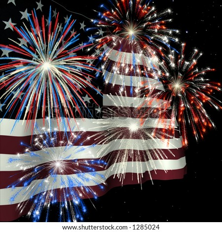Fireworks displayed over the American Flag against a night sky - stock photo