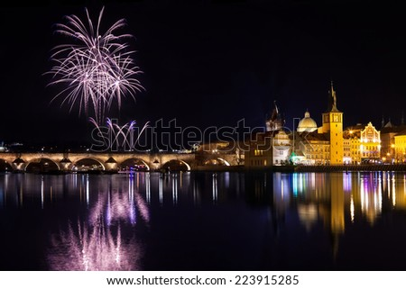 Fireworks during new year atmosphere in Prague, Czech Republick - stock photo