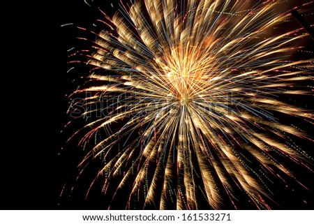 Fireworks exploding in a night sky. - stock photo