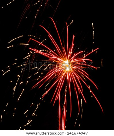 Fireworks exploding in the night sky. - stock photo