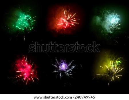 fireworks explosion on a black sky - stock photo
