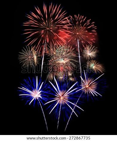 Fireworks, Fireworks light up the sky,New Year celebration fireworks - stock photo