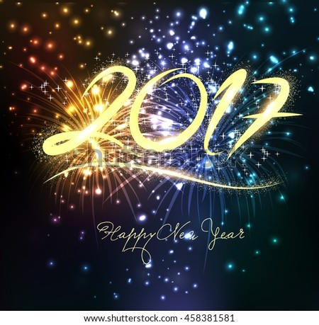 Fireworks for happy new year 2017 - stock photo