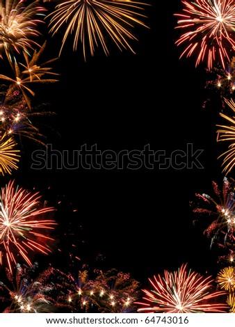 Fireworks frame - stock photo