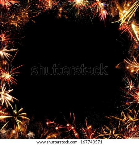 fireworks frame on a black background - stock photo