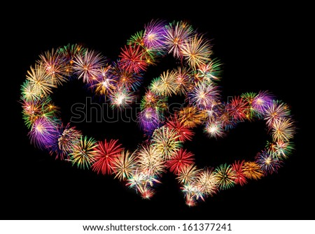 fireworks-hearts - stock photo