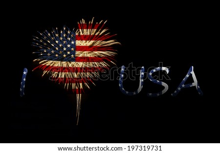fireworks in a heart shape with the U.S. flag on a black background.  I love usa - stock photo