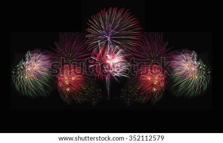 Fireworks in Festival day on Black background  - stock photo